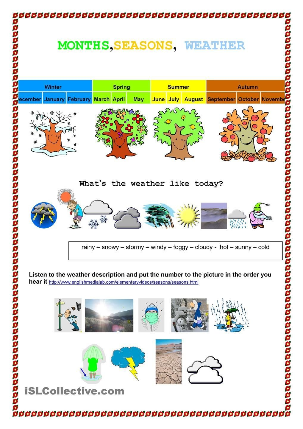Spanish Months and Seasons Worksheets Month Seasons Weather