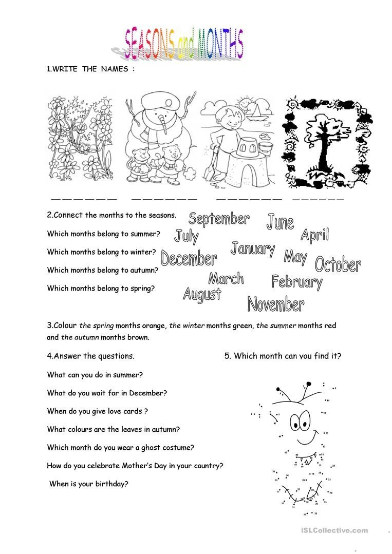 Spanish Months and Seasons Worksheets Months and Seasons English Esl Worksheets for Distance