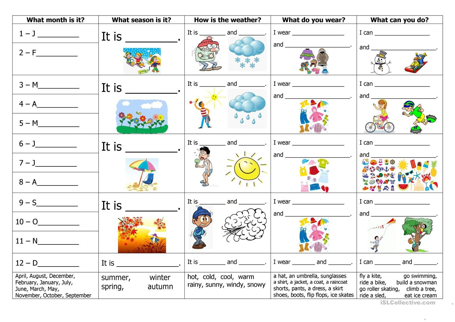 Spanish Months and Seasons Worksheets Months Seasons Weather Clothes and Activities English