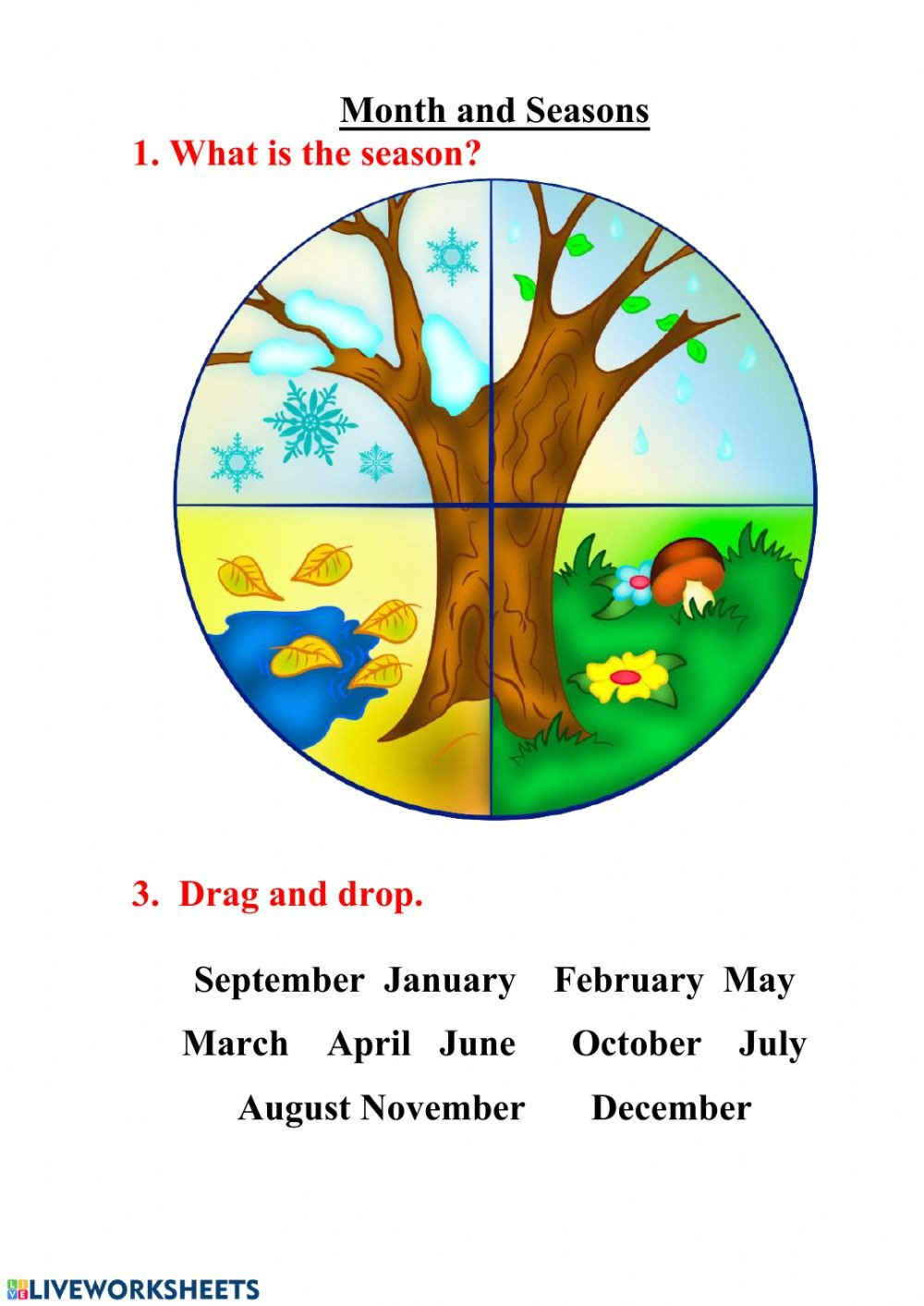 Spanish Months and Seasons Worksheets Seasons and Month Interactive Worksheet