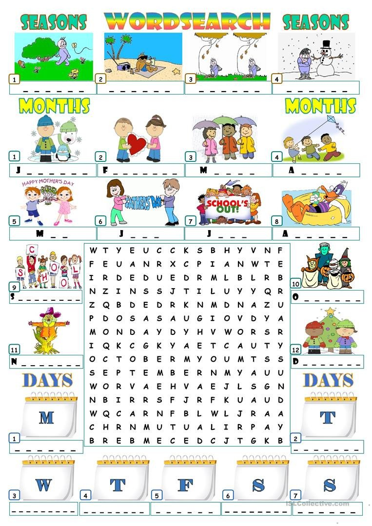 Spanish Months and Seasons Worksheets Seasons Months Days Wordsearch English Esl Worksheets
