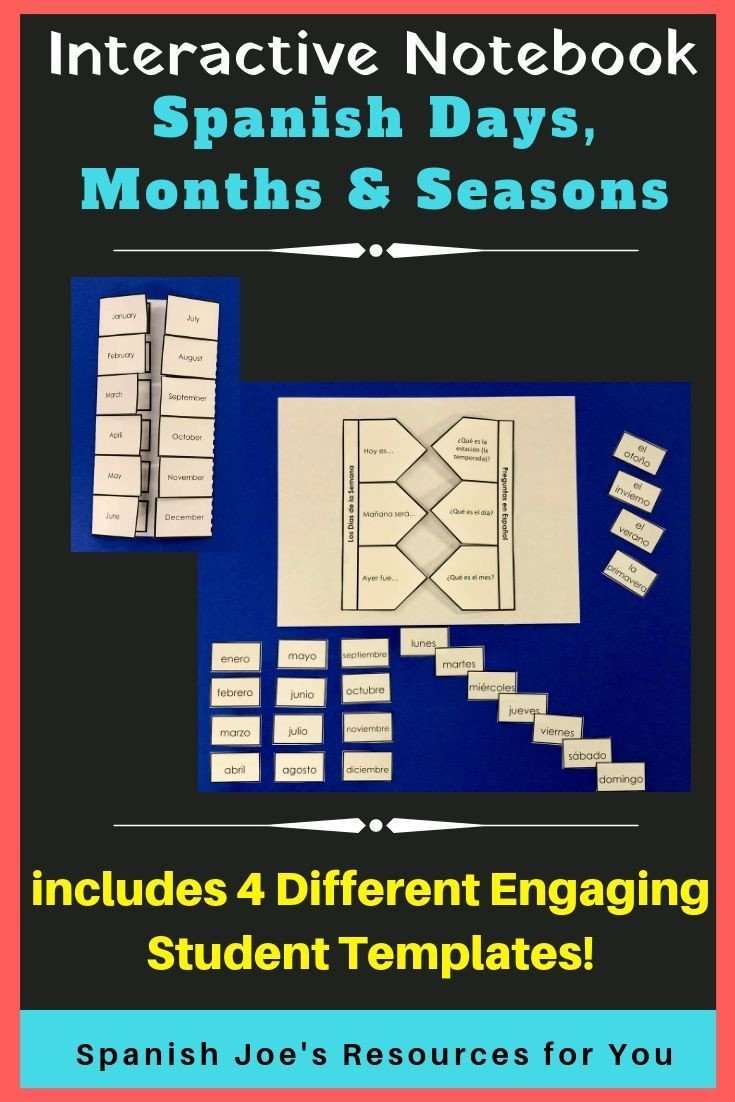 Spanish Months and Seasons Worksheets Spanish Days Months & Seasons Interactive Notebook Bundle