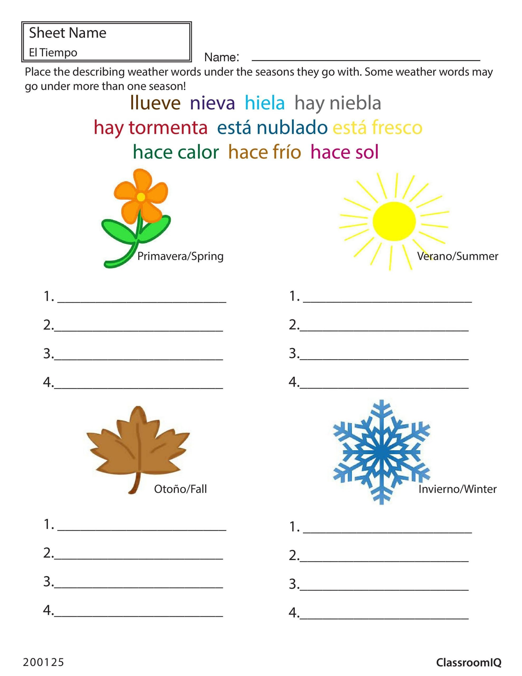 Spanish Months and Seasons Worksheets Weather and Seasons In Spanish Spanishworksheets