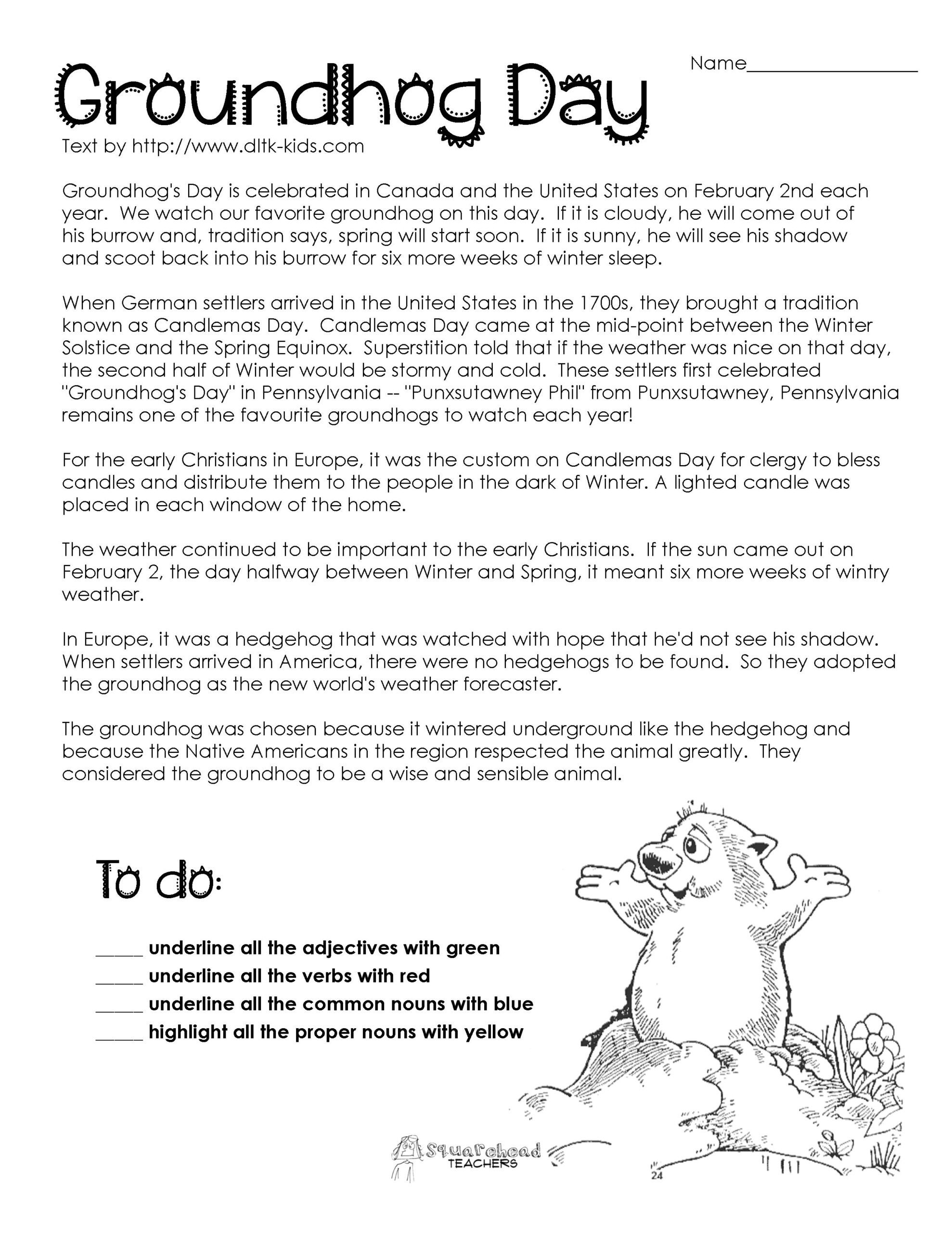 Spring Comprehension Worksheets Groundhog Prehension Worksheets Google Search 2nd Grade