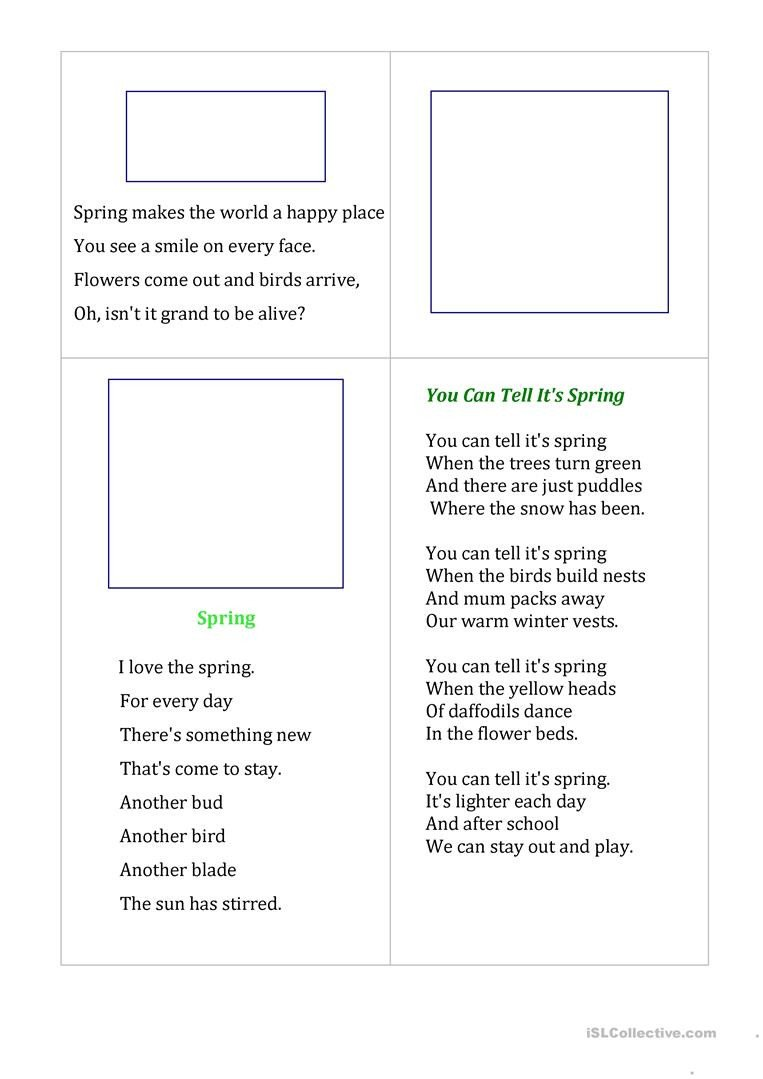 Spring Comprehension Worksheets Poems About Spring English Esl Worksheets for Distance