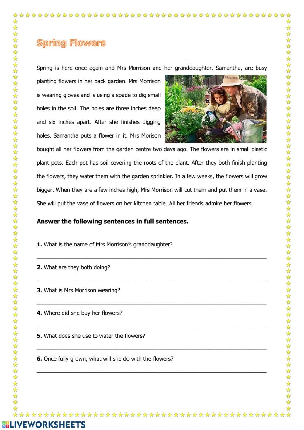 Spring Comprehension Worksheets Spring Reading Interactive Worksheet