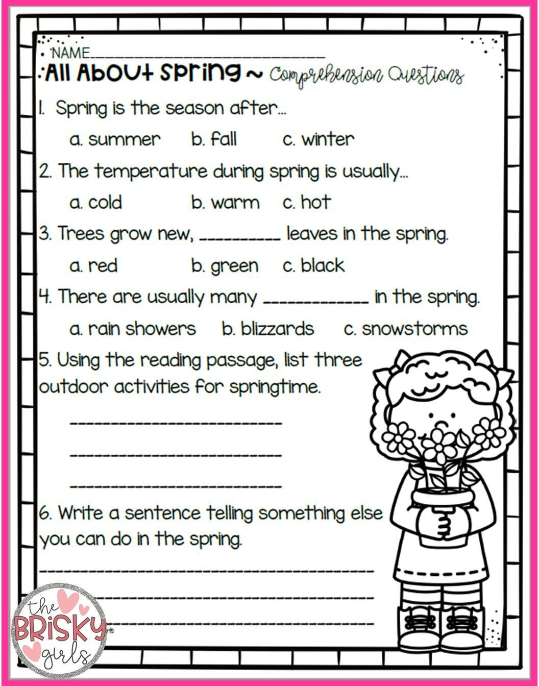 Spring Comprehension Worksheets the Four Seasons Reading Passages Take Home Packet