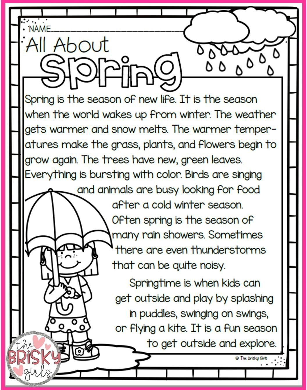 Spring Comprehension Worksheets the Four Seasons Spring Summer Fall Winter Seasons