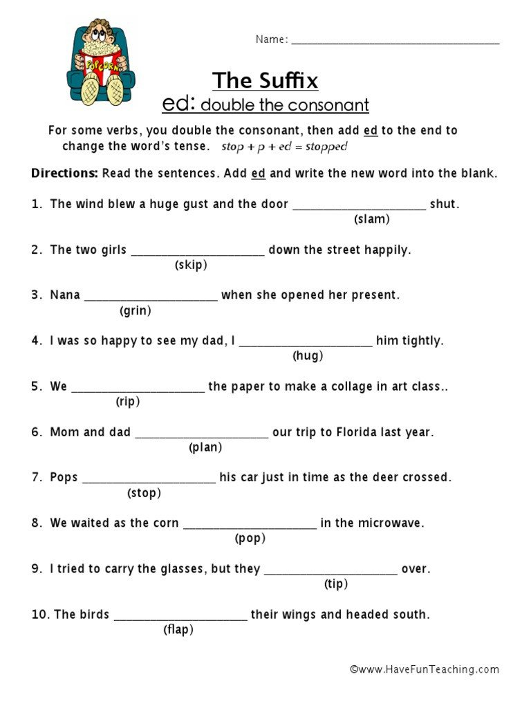 Suffix Ed Worksheets Suffix Ed Worksheet 2 Pdf