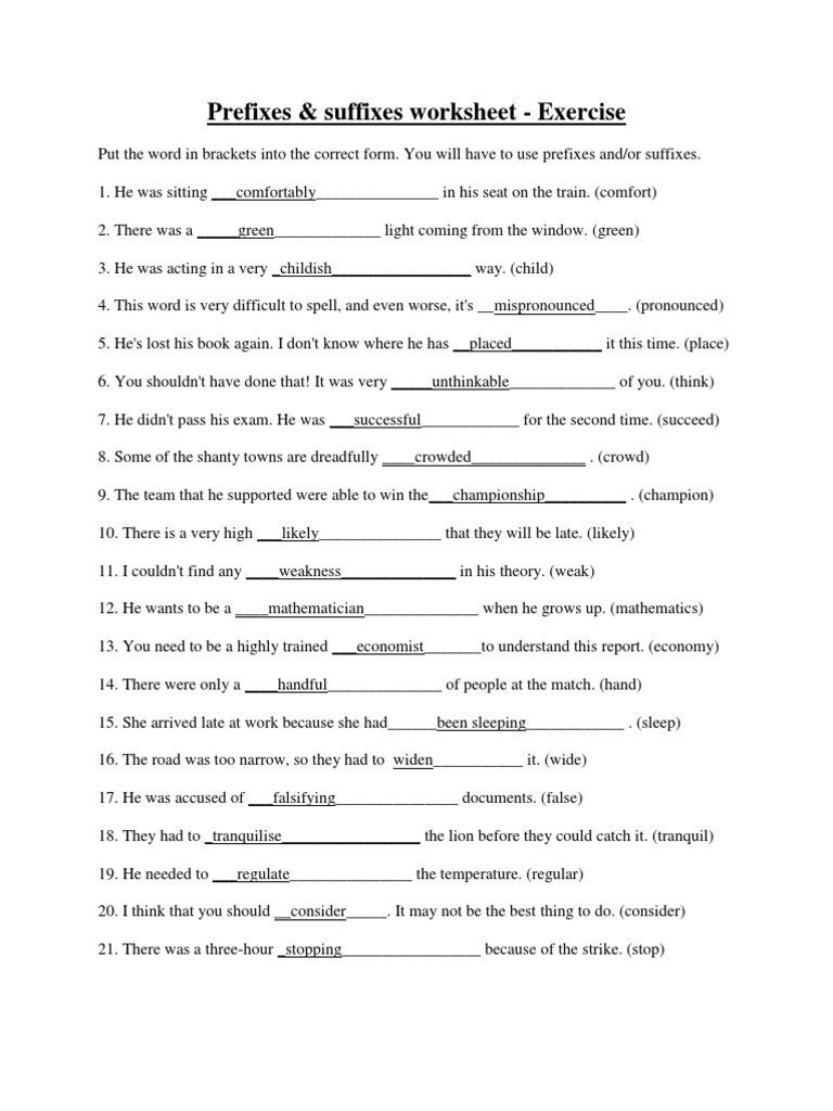 Suffix Worksheets Pdf Prefixesandsuffixes Exercise Answers