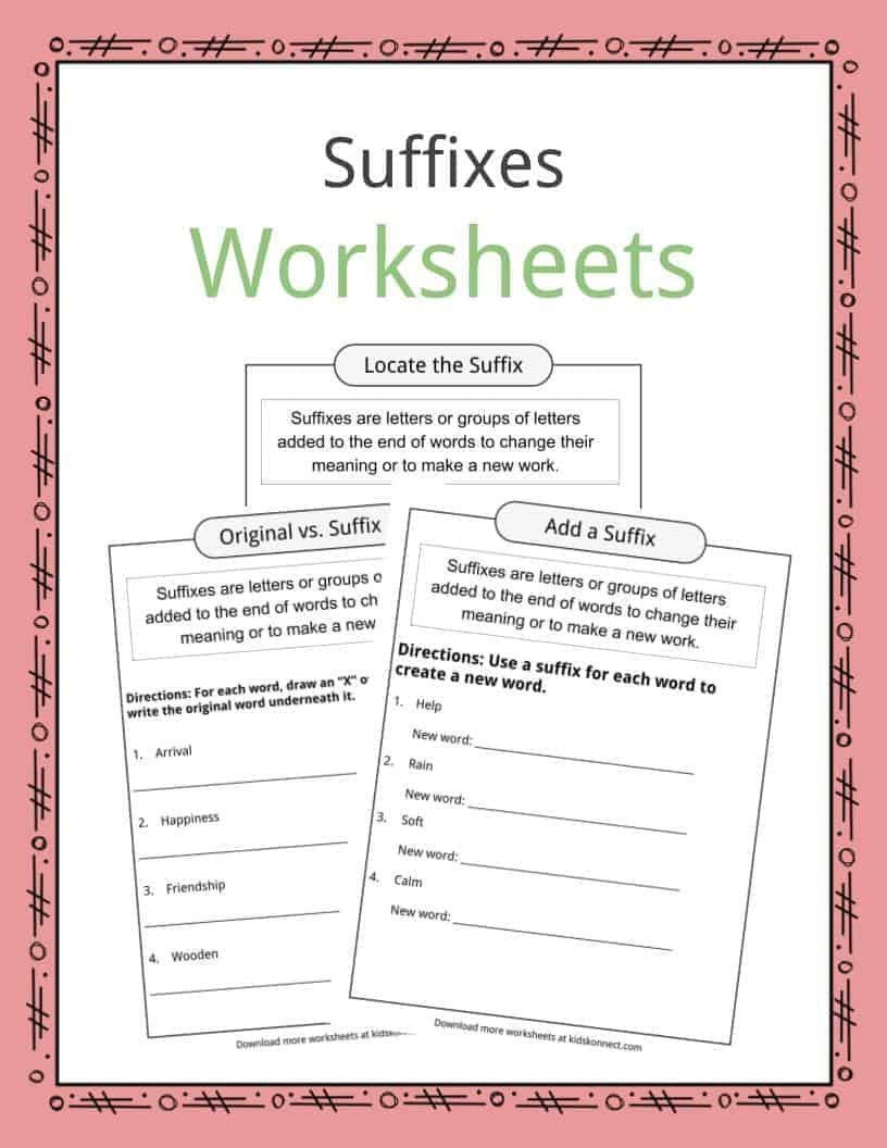 Suffixes Worksheets Free Suffixes Worksheets Examples & Definition for Kids