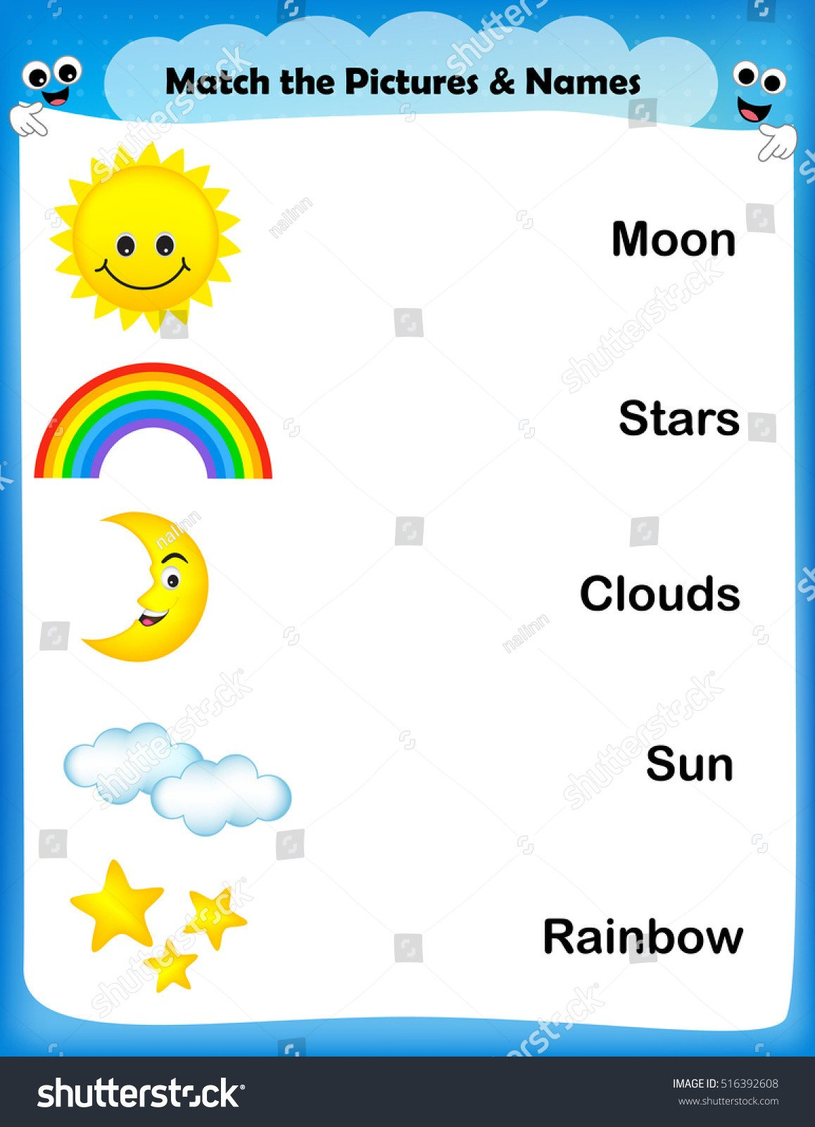stock vector worksheet match weather images with text worksheet for preschool kids