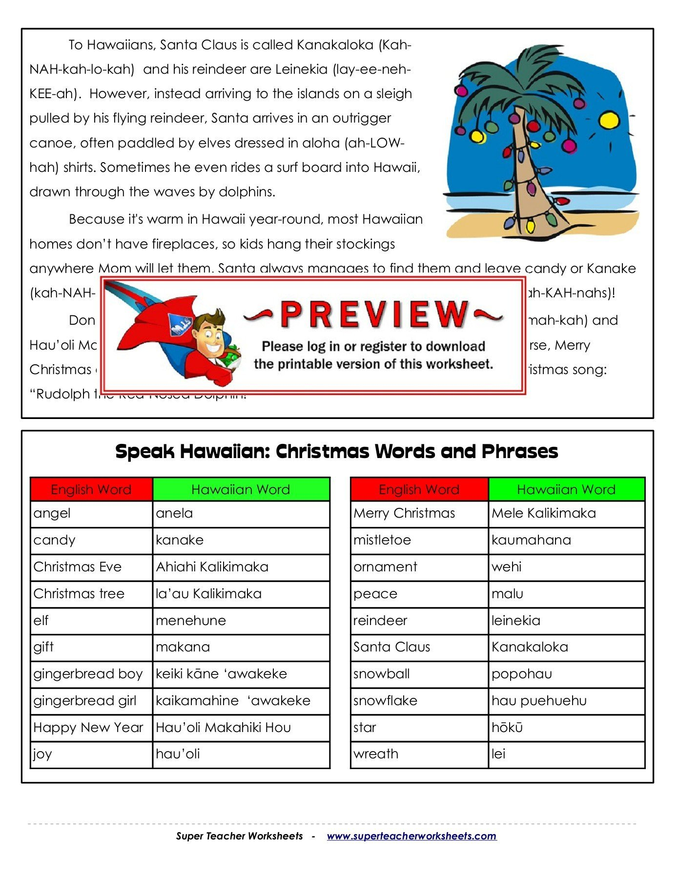 Super Teacher Worksheets Christmas Christmas In Hawaii Super Teacher Worksheets Pages 1 7