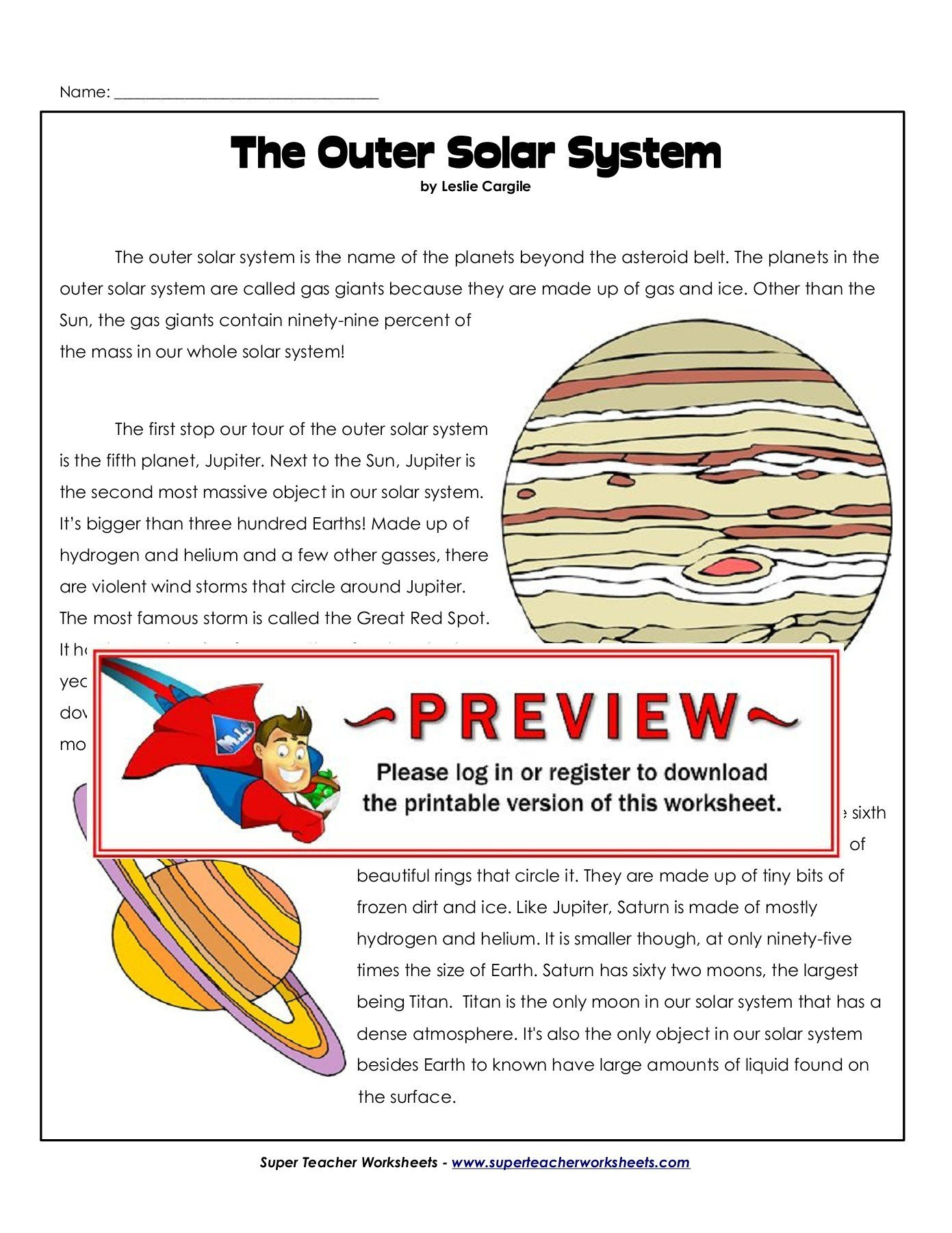 Super Teachers Worksheets Login the Outer solar System Super Teacher Worksheets