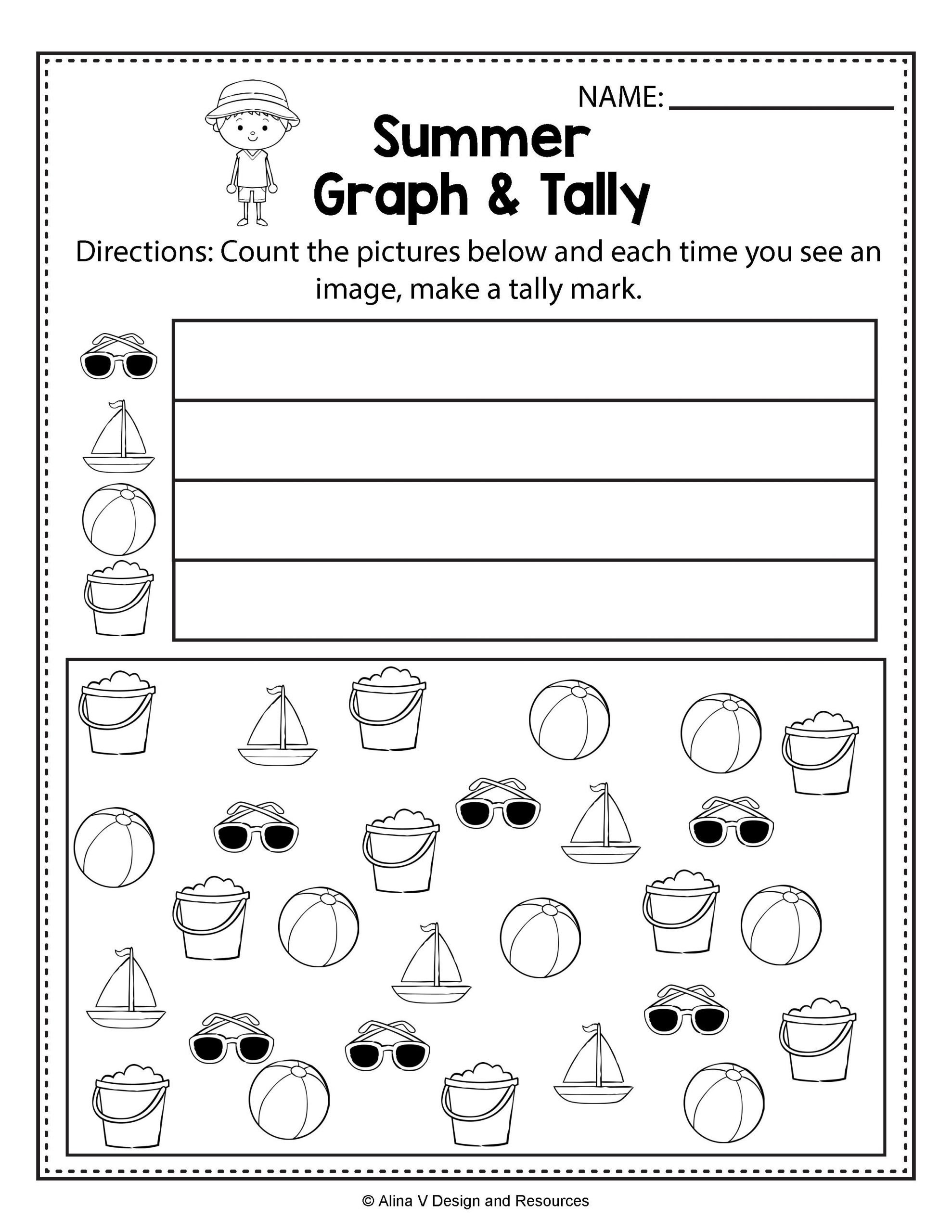 Tally Marks Worksheets for Kindergarten Summer Graph and Tally Summer Math Worksheets and