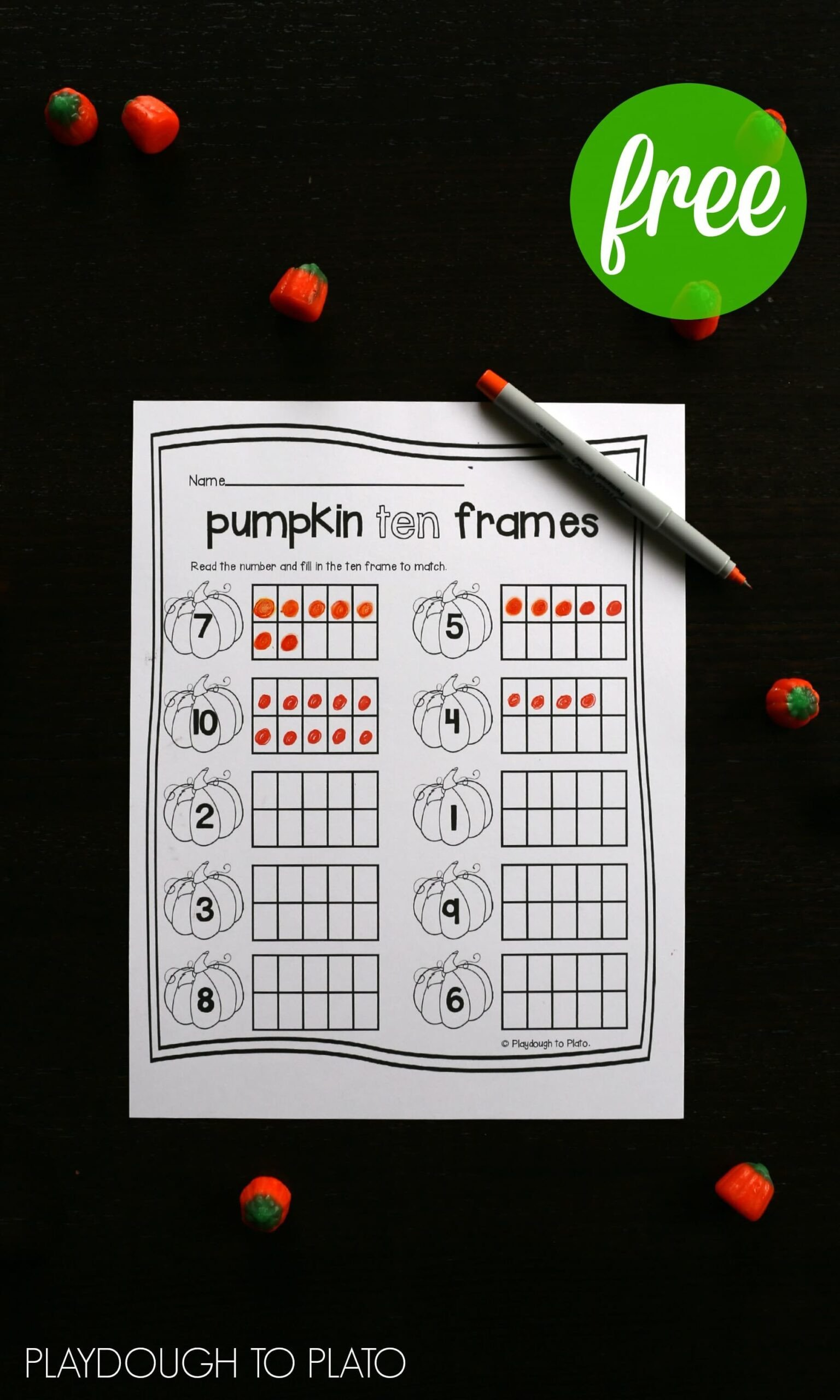 FREE pumpkin ten frame sheets Perfect fall activity for preschoolers or kindergarteners scaled