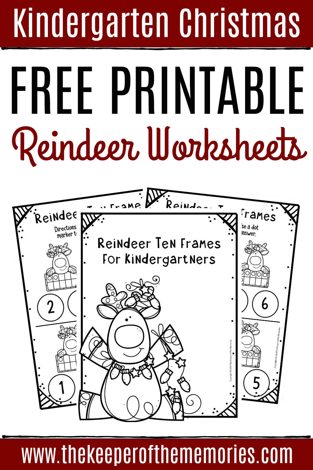 Free Printable Reindeer Ten Frame Kindergarten Worksheets
