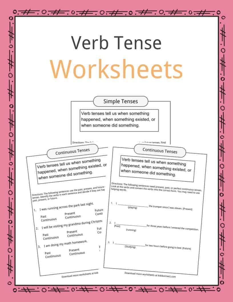 Tenses Worksheets for Grade 5 Verb Tense Worksheets Examples & Definition for Kids