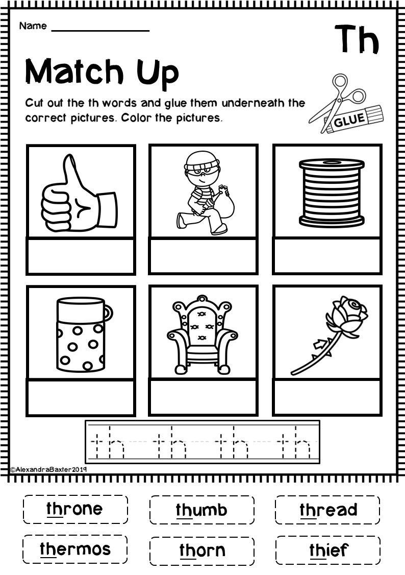 Th Worksheets for Kindergarten Th Digraph Worksheets In 2020