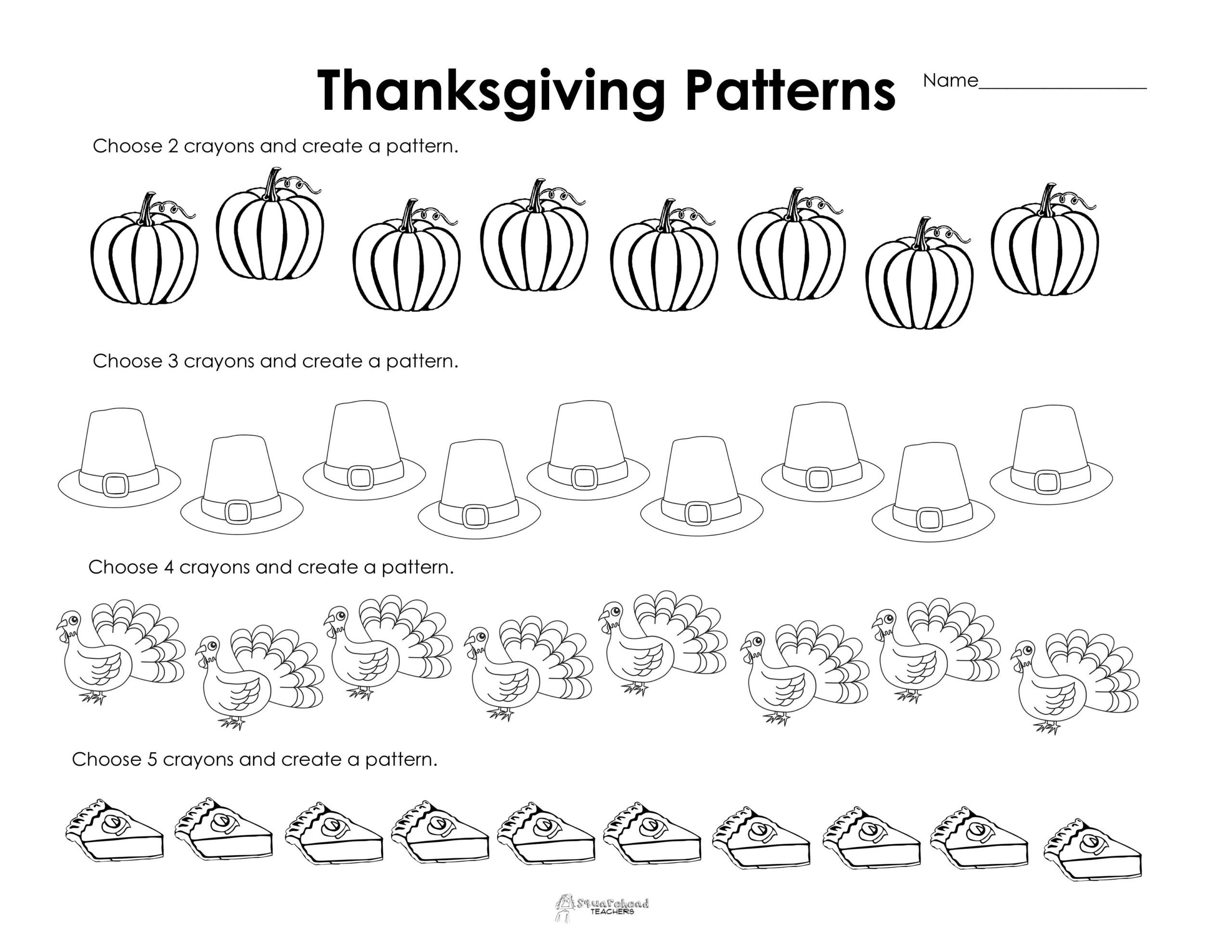 Thanksgiving Math Worksheets Kindergarten Making Patterns Thanksgiving Style Free Worksheet Worksheets