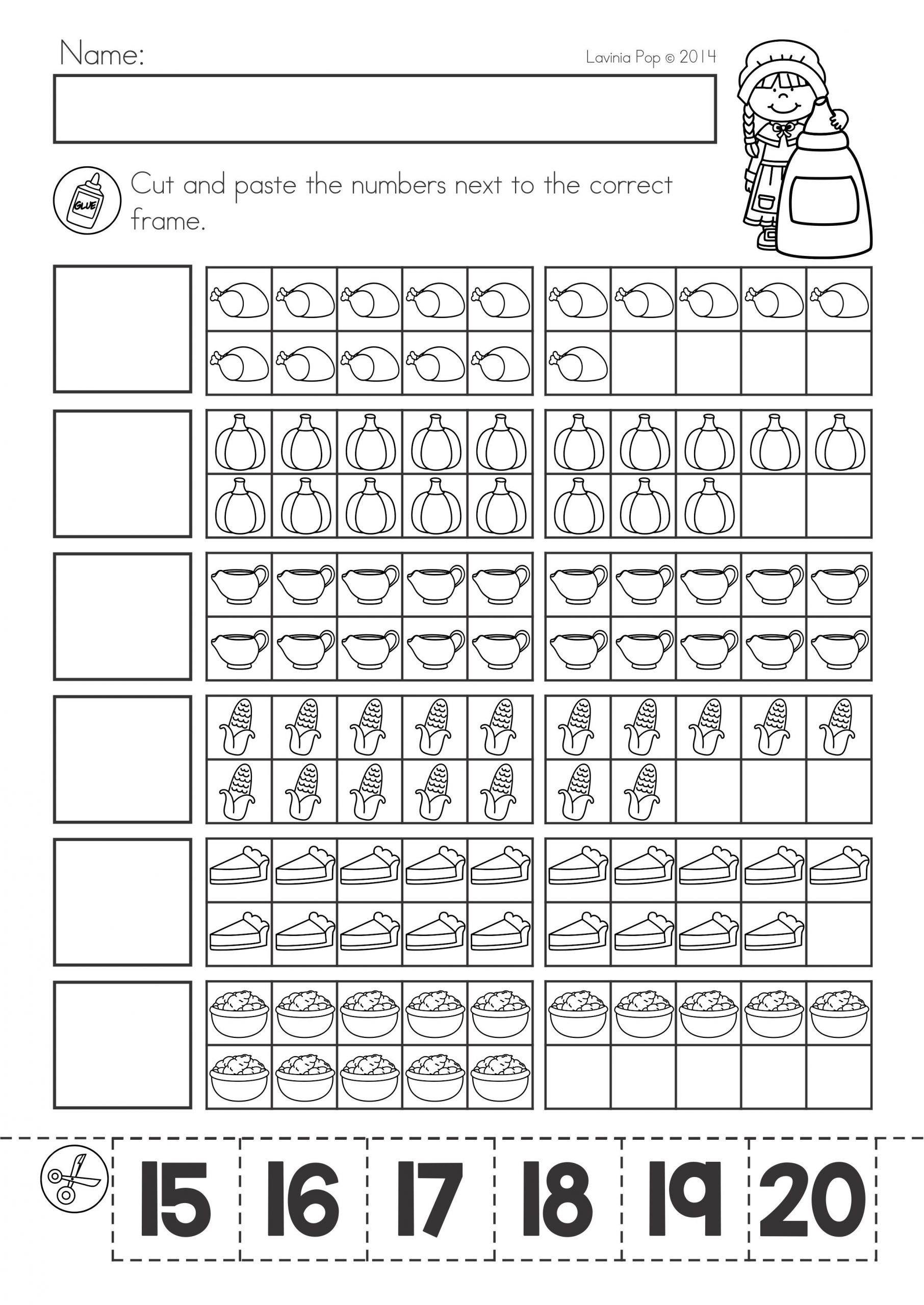 Thanksgiving Math Worksheets Kindergarten Thanksgiving Math & Literacy Worksheets and Activities for
