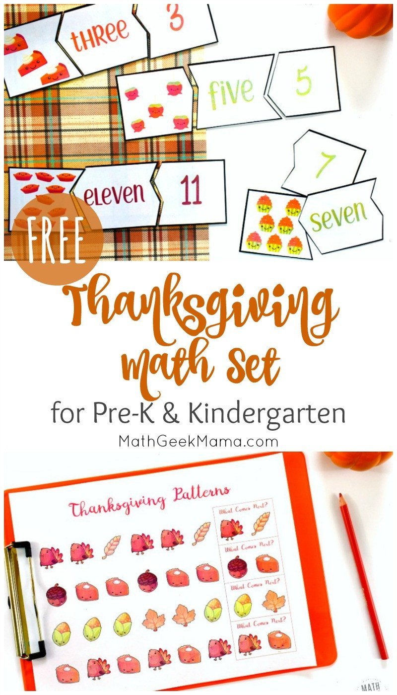 Thanksgiving Math Worksheets Kindergarten Thanksgiving Math for Kindergarten Free Printables