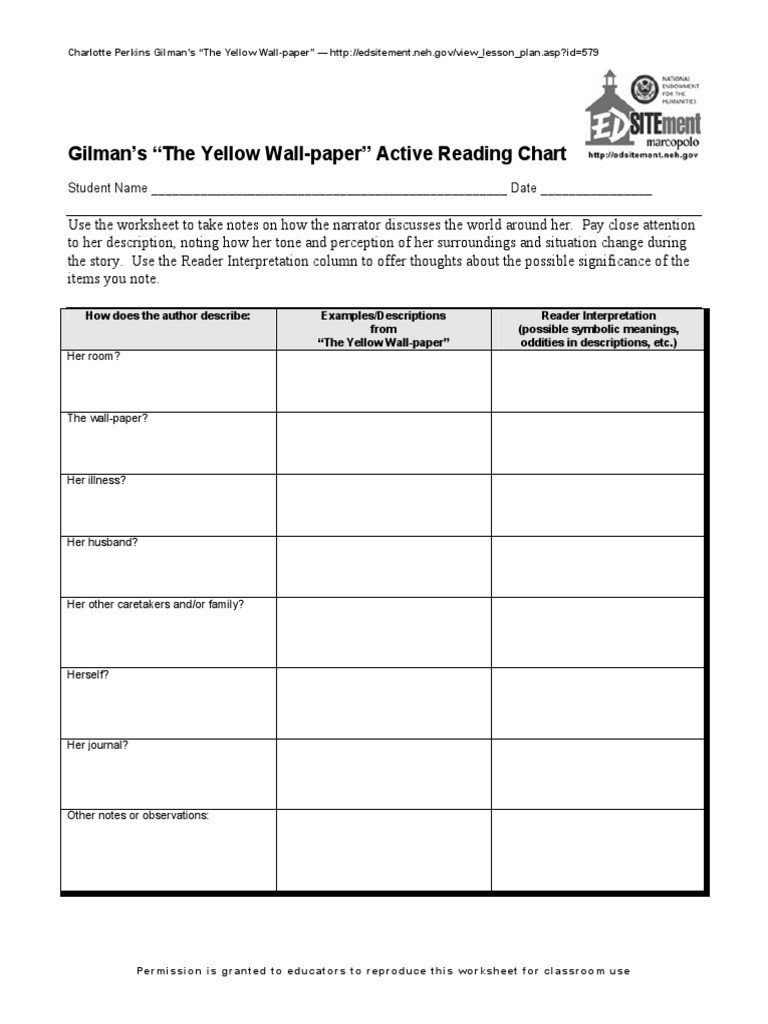 The Yellow Wallpaper Worksheet Answers Charlotte Perkins Gilman S the Yellow Wallpaper the New