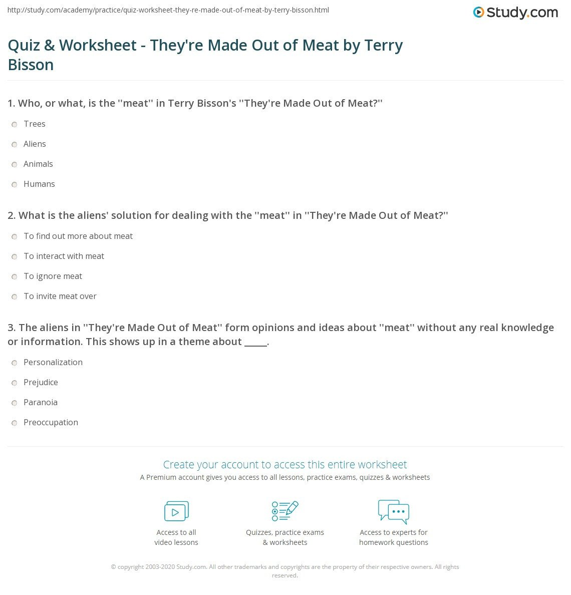 quiz worksheet they re made out of meat by terry bisson
