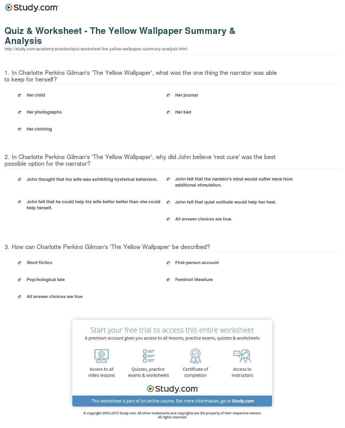 The Yellow Wallpaper Worksheet Answers Quiz Worksheet the Yellow Wallpaper Summary Analysis