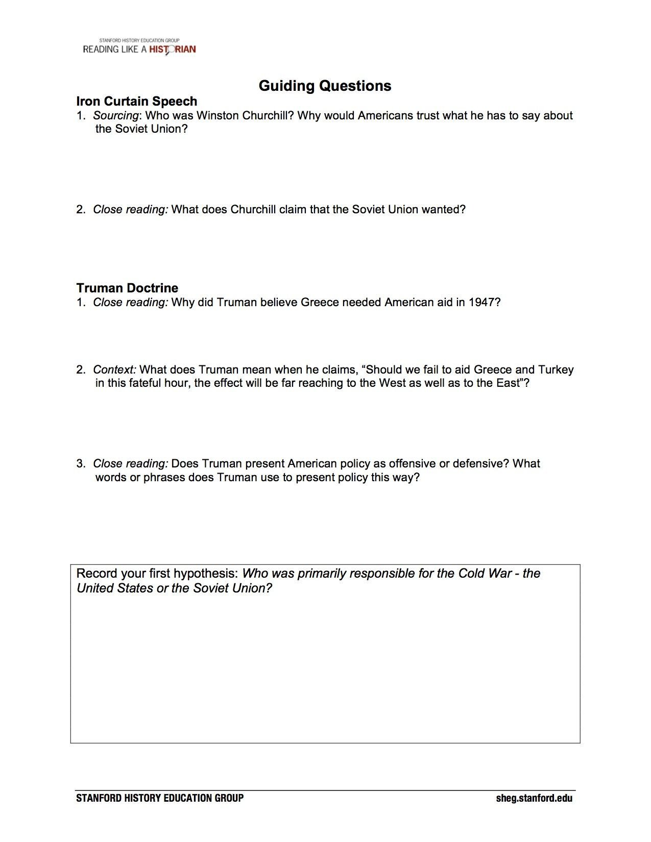 The Yellow Wallpaper Worksheet Answers Truman Doctrine Worksheet