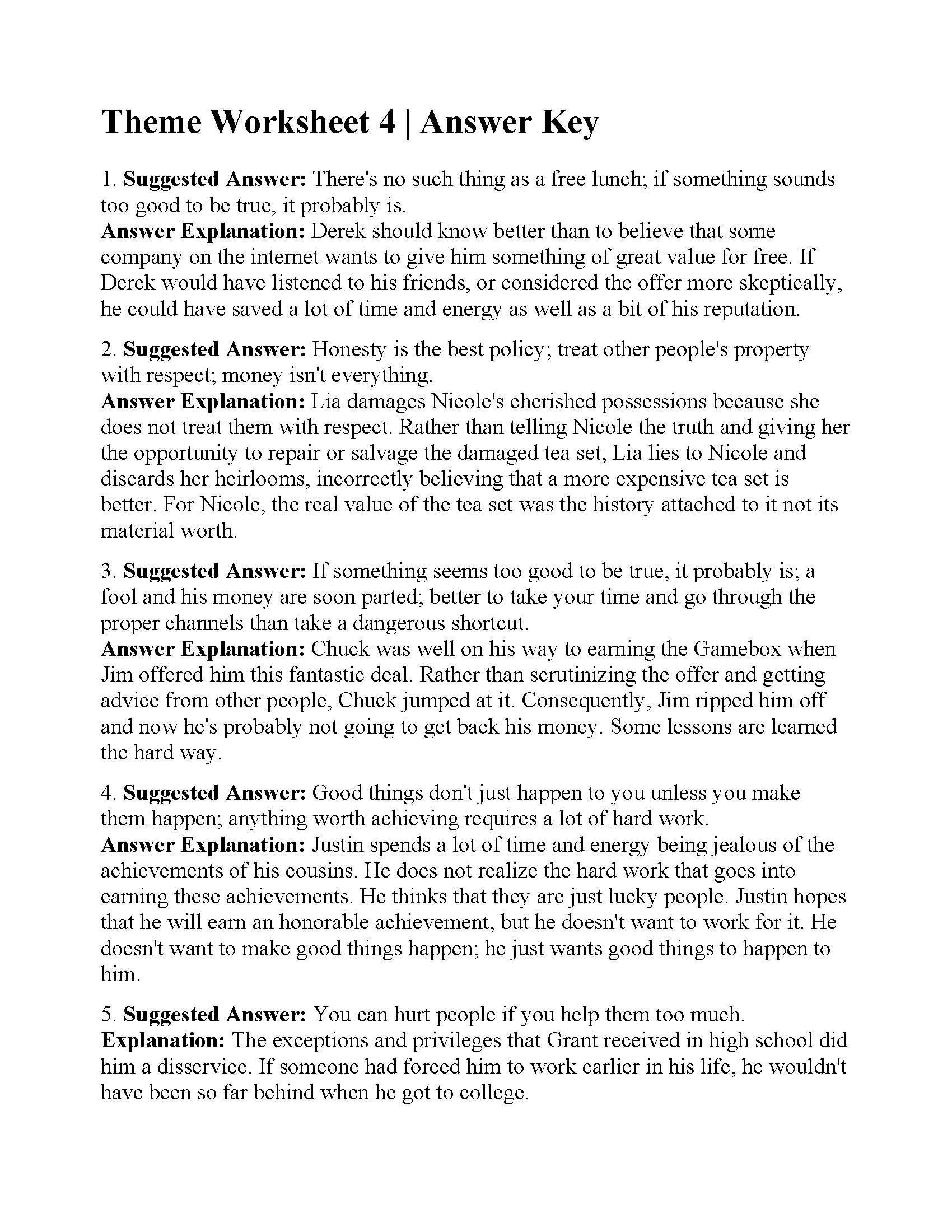 Theme Worksheet Grade 4 This is the Answer Key for the theme Worksheet 4