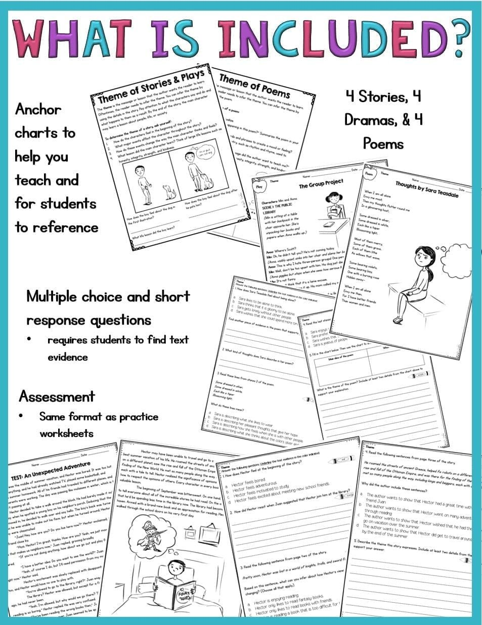 theme in stories plays and poems 4th grade rl 4 2 and 5th grade rl 5 2