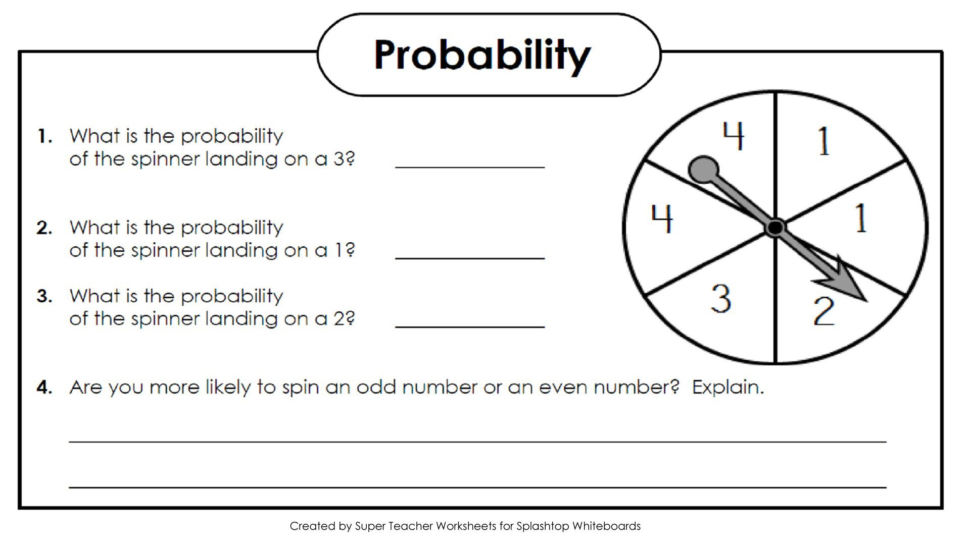 Theoretical Probability Worksheets 7th Grade Basic Probability Worksheets
