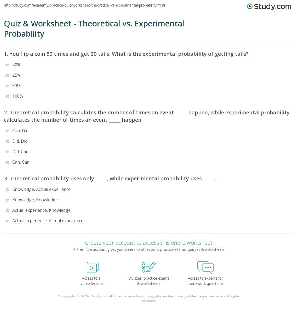 Theoretical Probability Worksheets 7th Grade Quiz & Worksheet theoretical Vs Experimental Probability