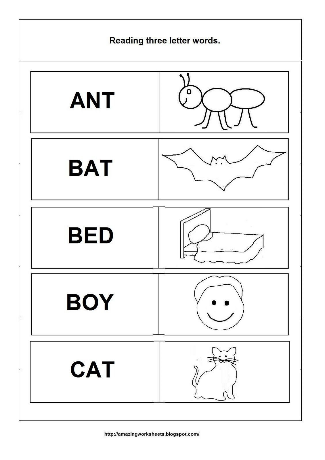 Three Letter Word Worksheets Simple Words Worksheet