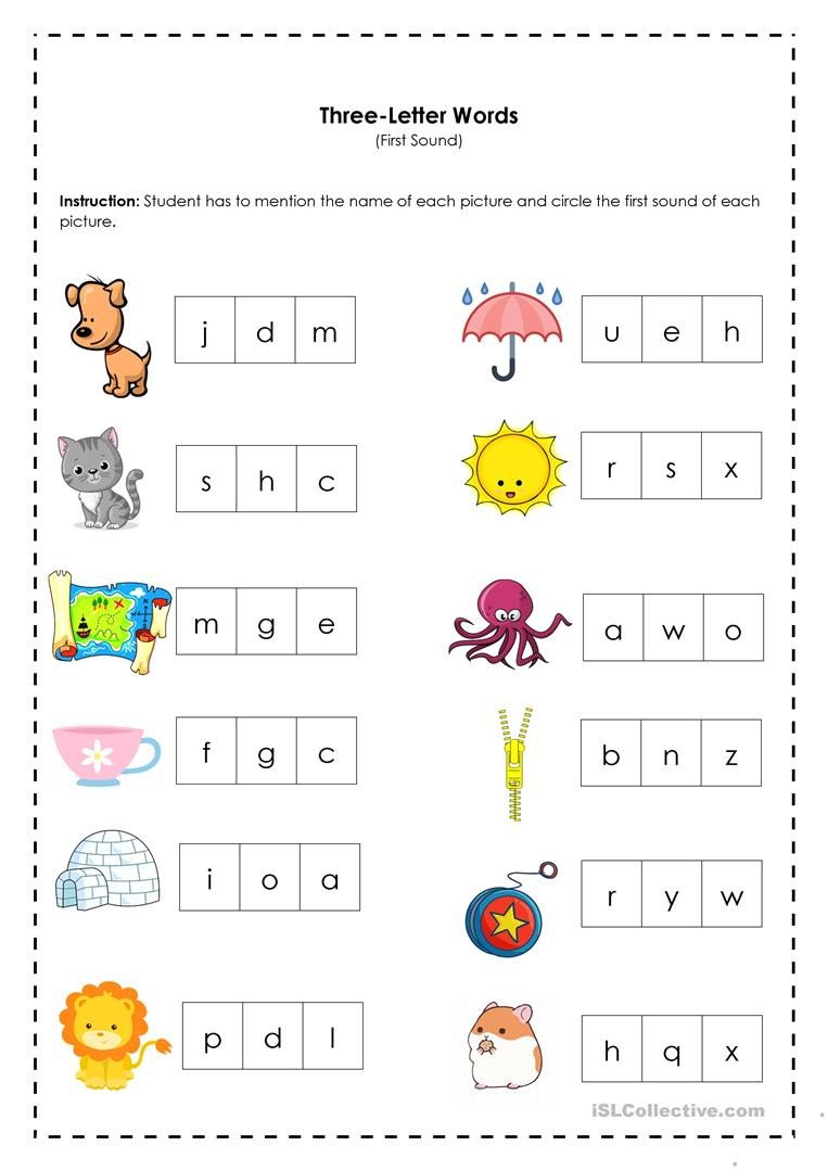 Three Letter Word Worksheets Three Letter Words First sound English Esl Worksheets