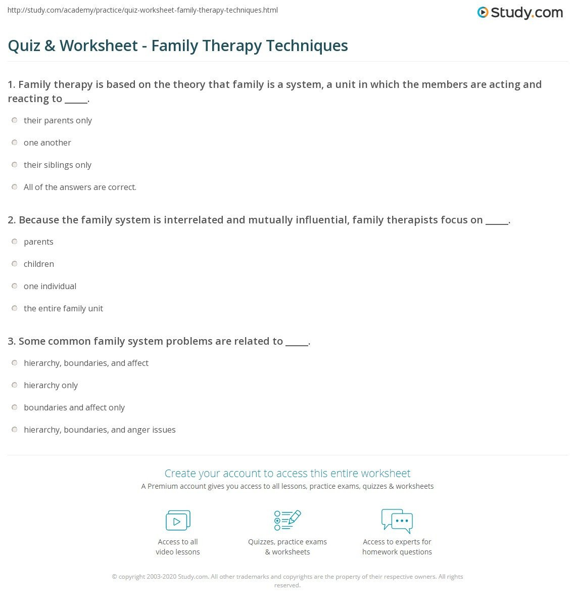 Time and Measurement Worksheets Quiz Worksheet Family therapy Techniques Study Worksheets