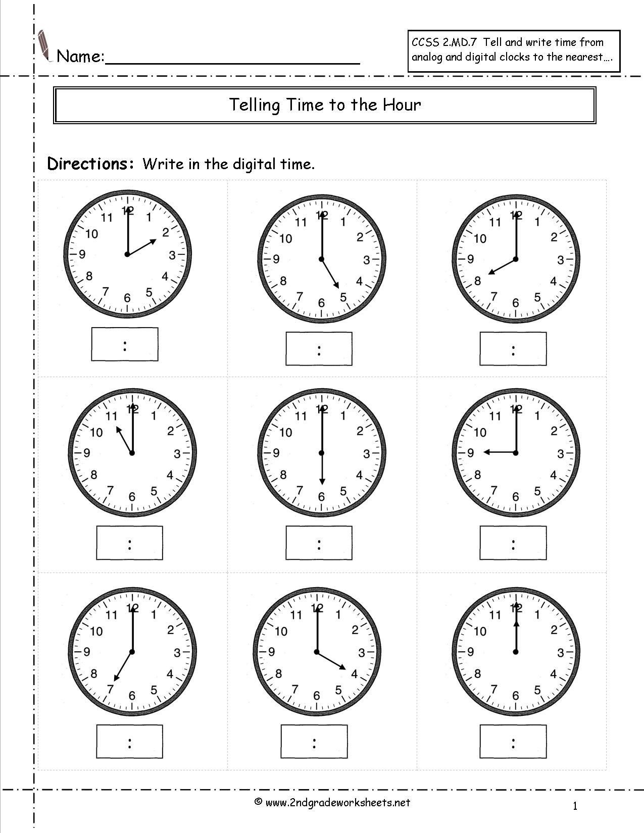Time and Measurement Worksheets Telling Time Worksheets Half Hour Clock Third Grade