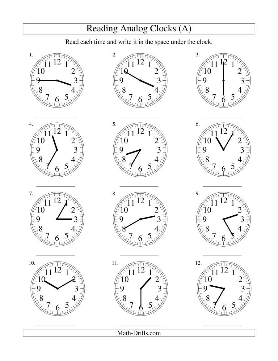 Time and Measurement Worksheets the Reading Time On An Analog Clock In 5 Minute Intervals A