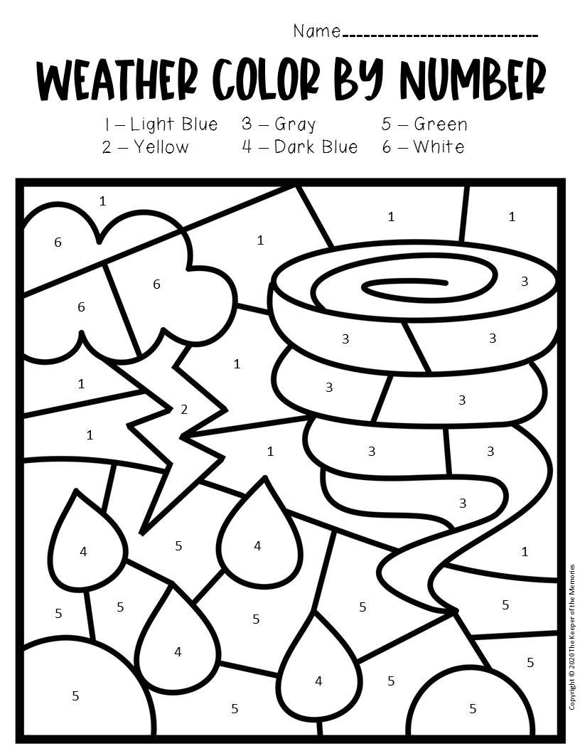 Tornado Worksheets for Kids Color by Number Weather Preschool Worksheets tornado the