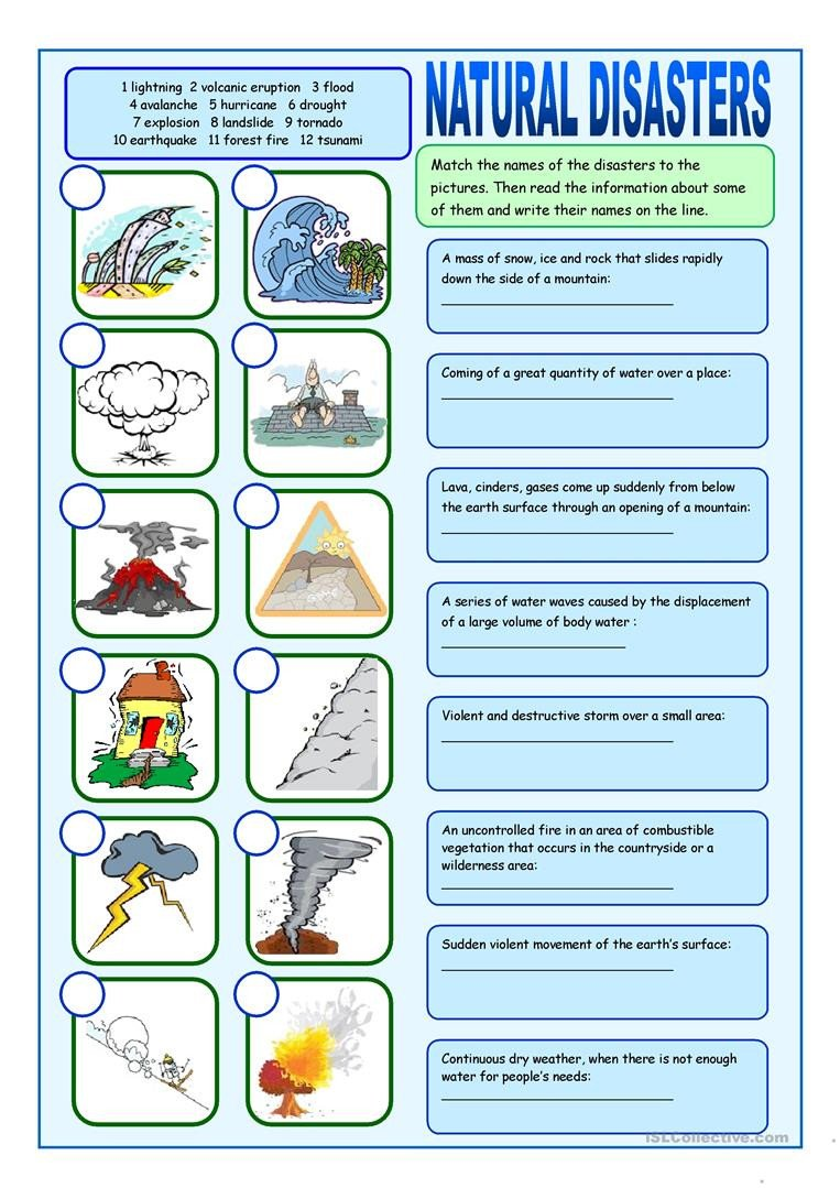 Tornado Worksheets for Kids Natural Disasters Matching Exercises English Esl