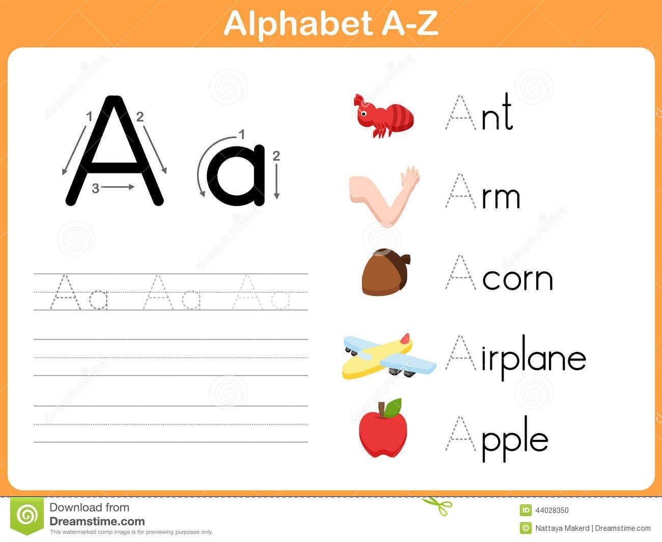 Tracing Letters Worksheet Az Alphabet Tracing Worksheet Stock Vector Image