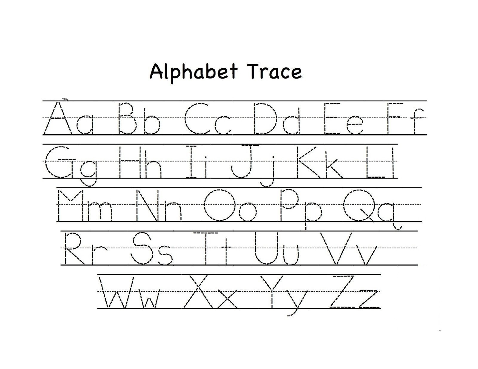 Tracing Letters Worksheet Az Math Worksheet Math Worksheet Preschool Alphabet Trace