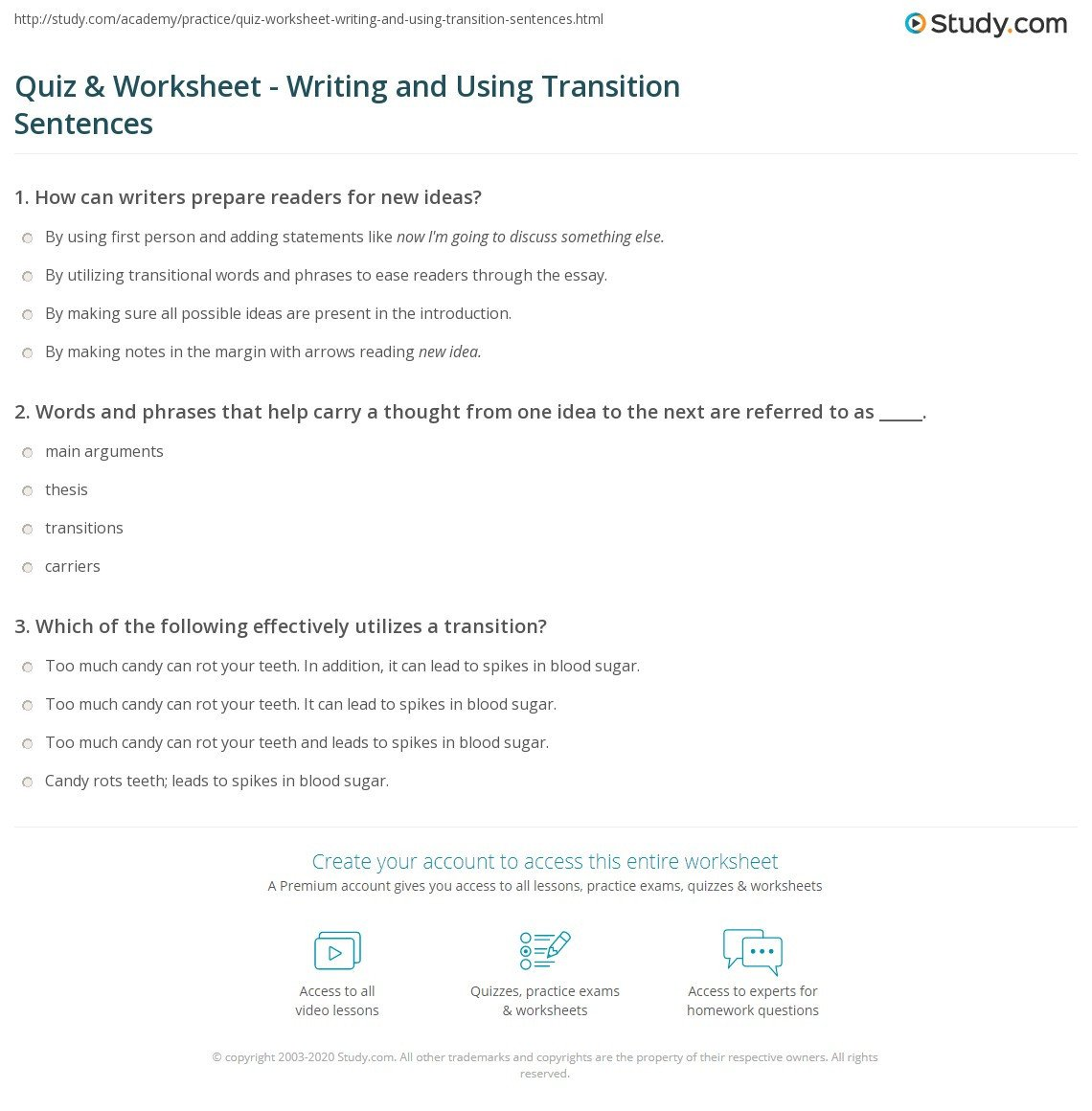 Transition Words Practice Worksheet Quiz & Worksheet Writing and Using Transition Sentences