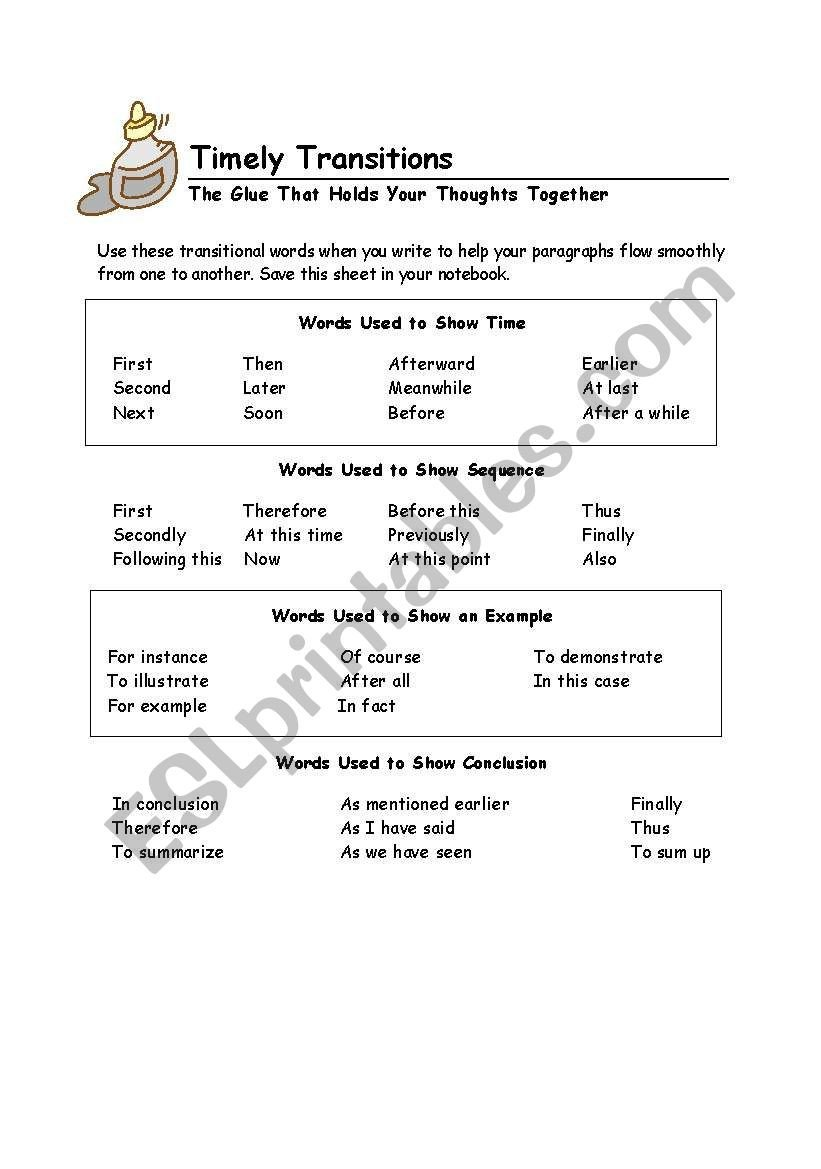 Transition Words Practice Worksheet Transition Words Esl Worksheet by Mdelreal214