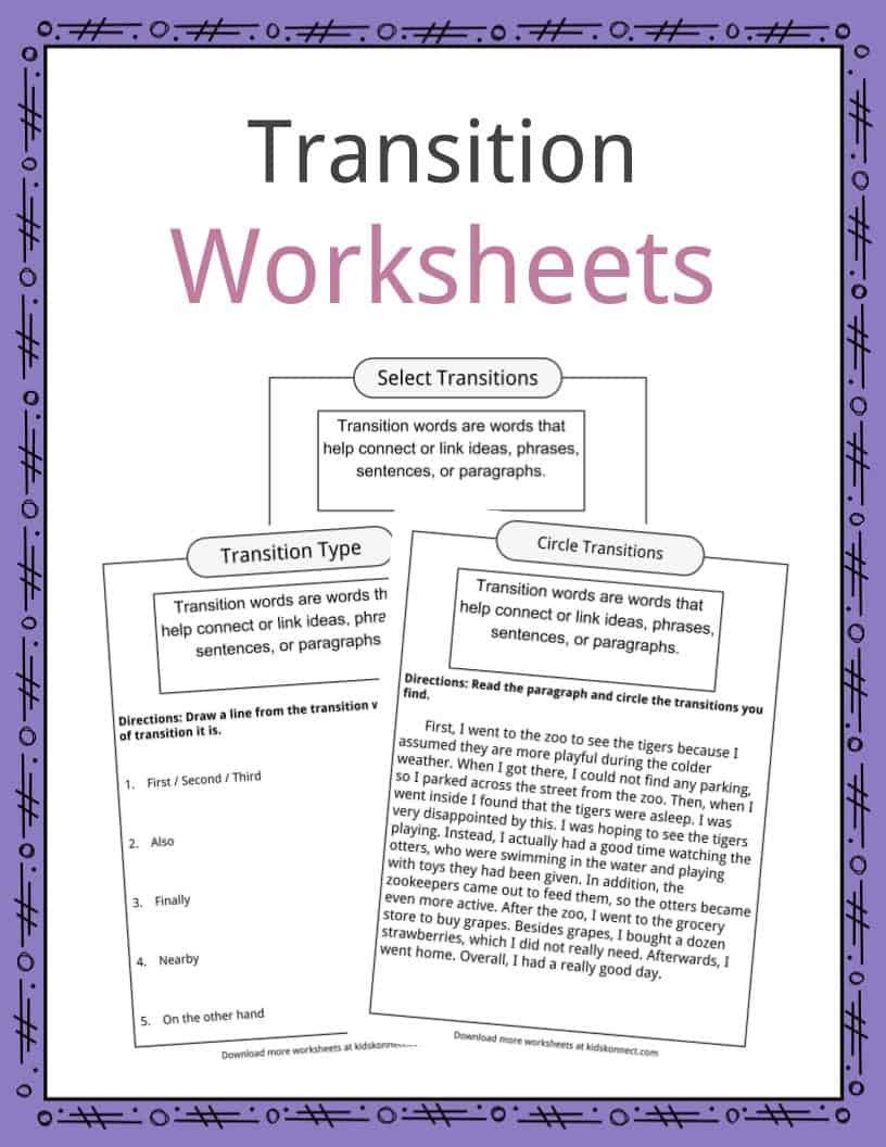 Transition Words Practice Worksheet Transition Words Worksheets Examples & Definition for Kids
