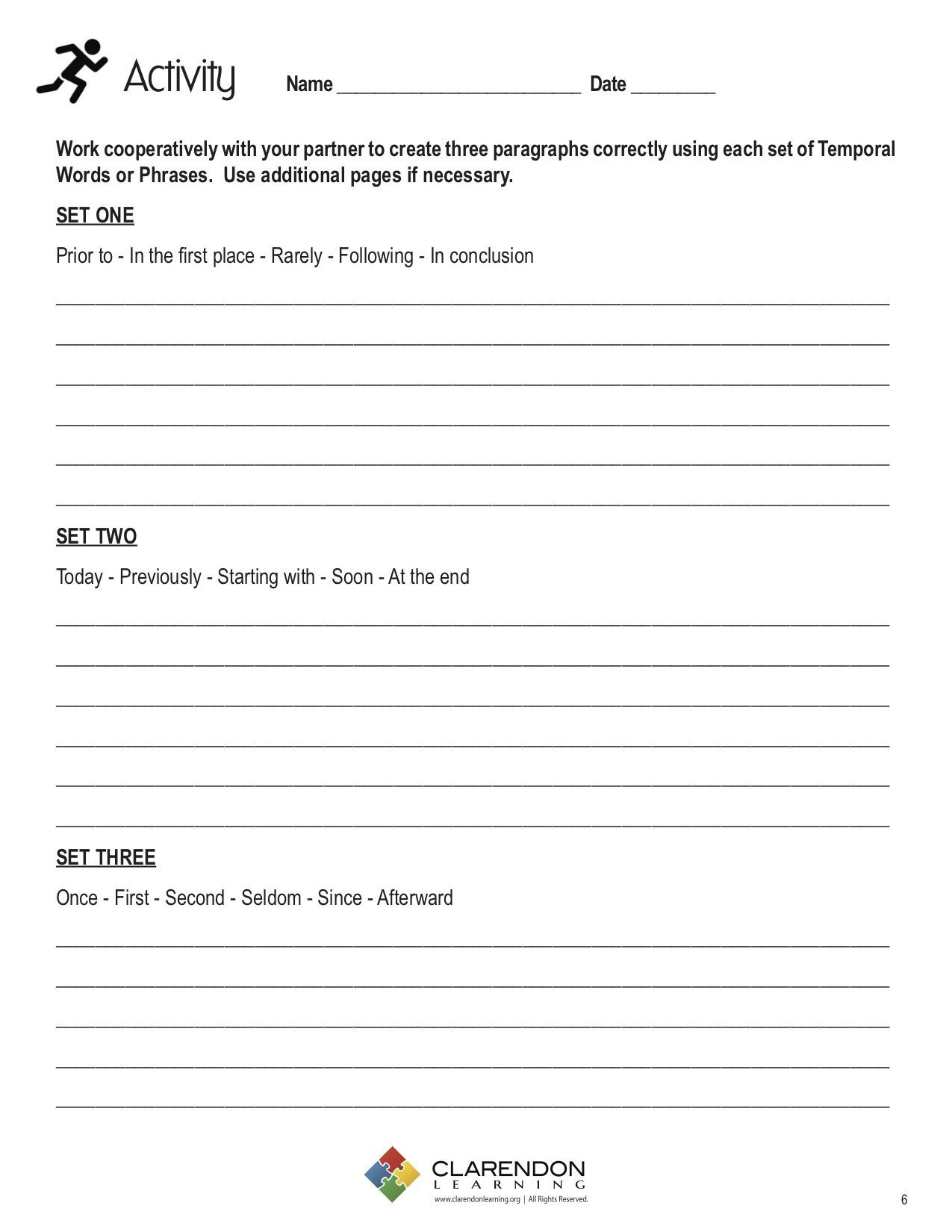 Transition Words Practice Worksheet Using Temporal Words Phrases