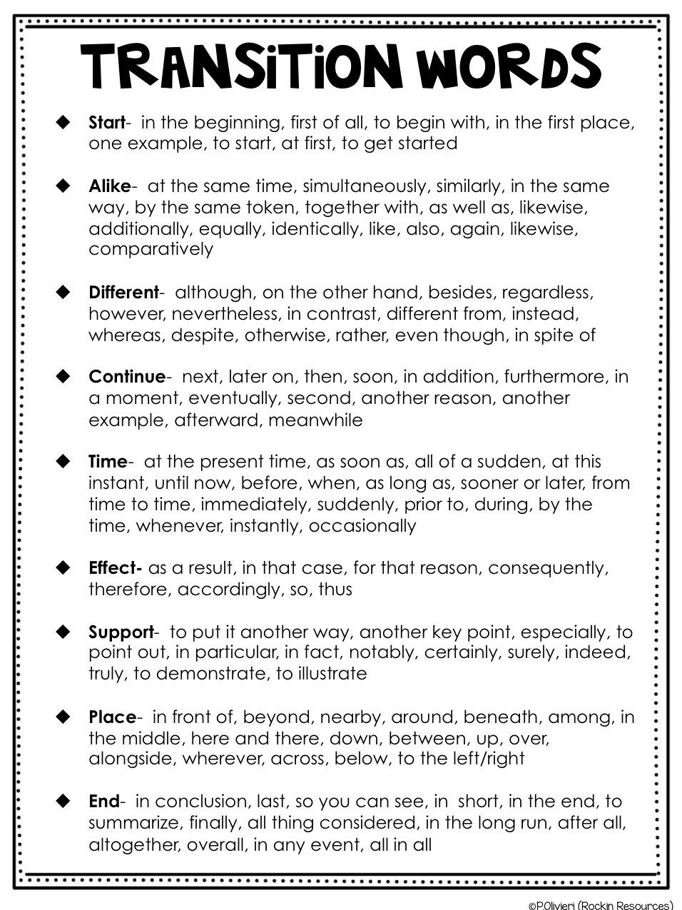 Transition Words Practice Worksheet Writing Mini Lesson 6 Relevant Details