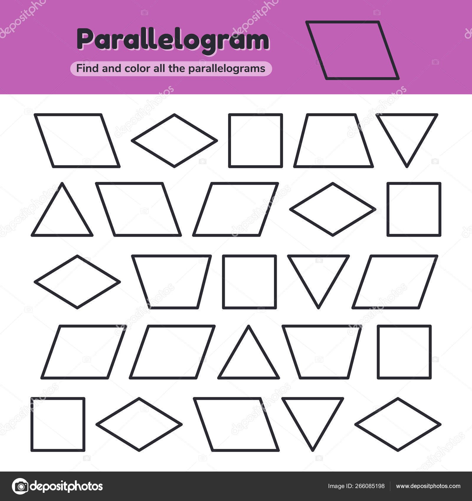 Triangle Worksheet for Kindergarten Educational Worksheet for Kids Kindergarten Preschool and School Age Geometric Shapes Rhombus Parallelogram Triangle Square Trapezoid Find and