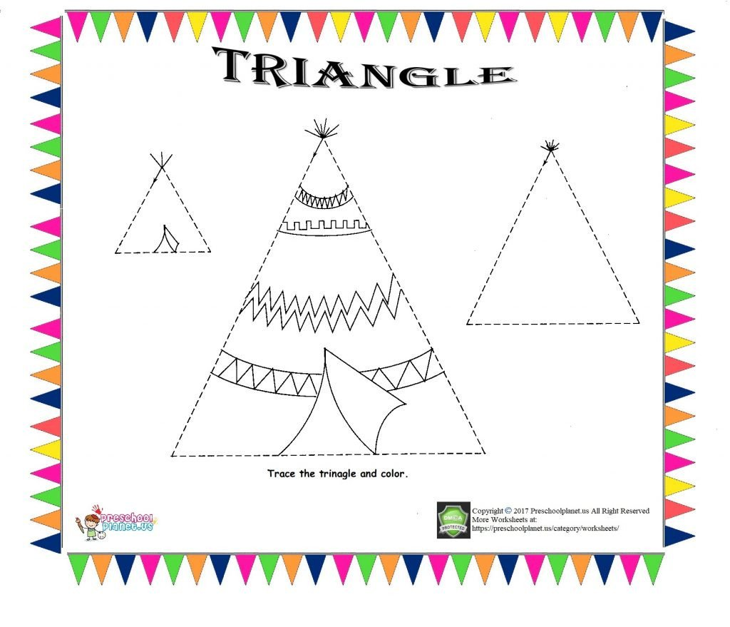triangle trace worksheet for kids 1024x879